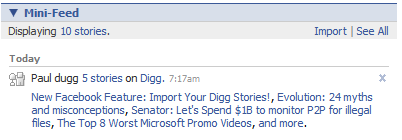 Your Dugg stories in your Facebook minifeed