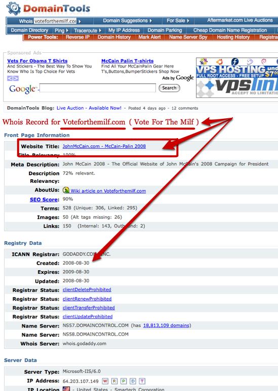 VoteForTheMILF McCain Campaign Domain