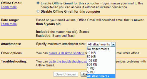 Offline Gmail Attachment Settings