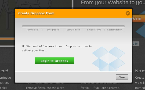 Create Dropbox Form to enable someone to upload to Dropbox without an account