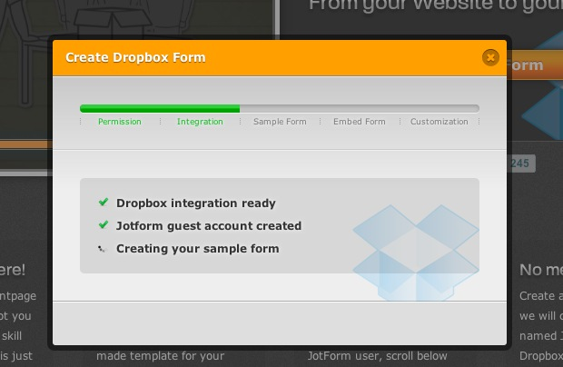 JotForm integration allows users to easily upload to dropbox without an account
