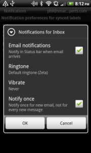 Android Gmail Update Notification Settings