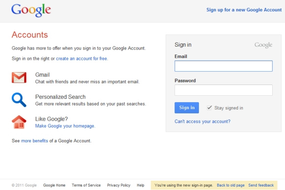 Google Accounts Sign-in Redesign