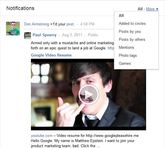 Google+ Notification screen filters