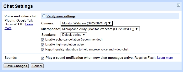 Enable Google+ Hi-resolution video chat