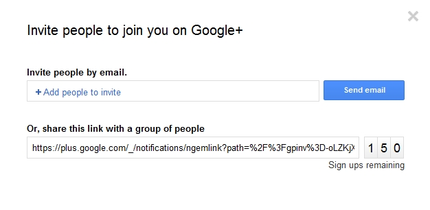 Mass invite to Google+ with URL