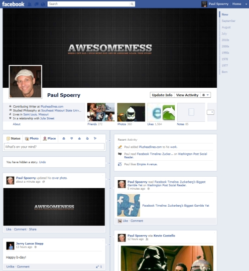 Facebook Profile Timeline example