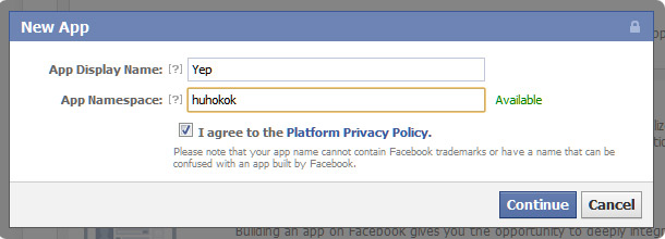 Facebook Application Name Dialog