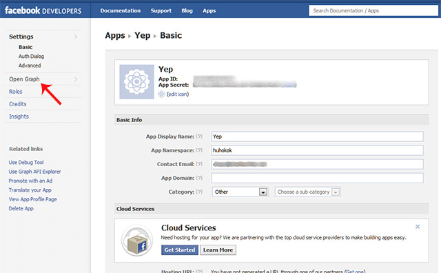Facebook application verification