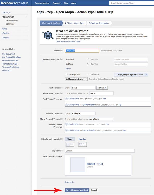 Facebook configure actions