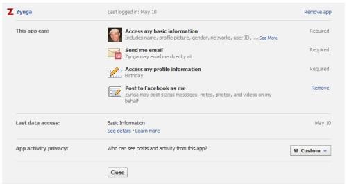 Facebook permission details