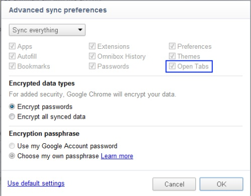 Enable tab sync in Google Chrome