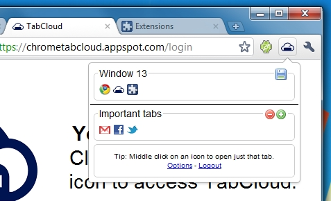 TabCloud - Sync open tabs between Chrome, Firefox, and Android