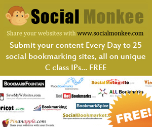 Social Monkee - Submit your  content Every Day to 25 social  bookmarking sites, all on unique  C class IPs... FREE.