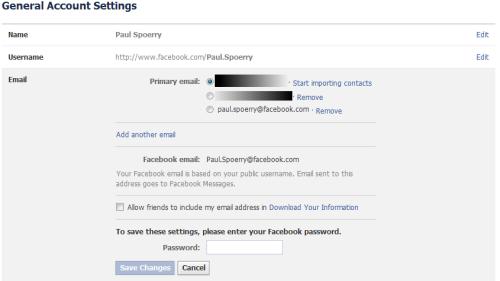 Facebook email fix