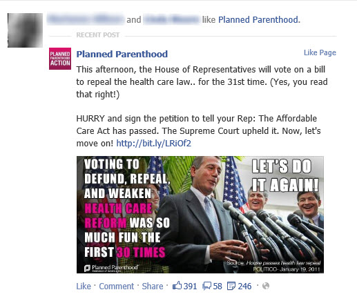 Forced political sharing on Facebook