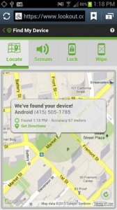 Lookout Mobile Security Find Phone