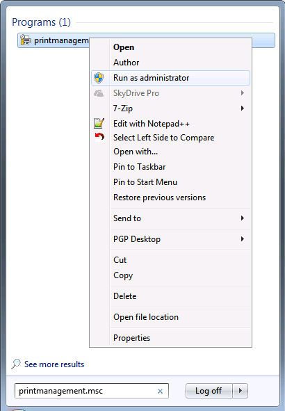 Windows 7 printer printmanagement_run as admin