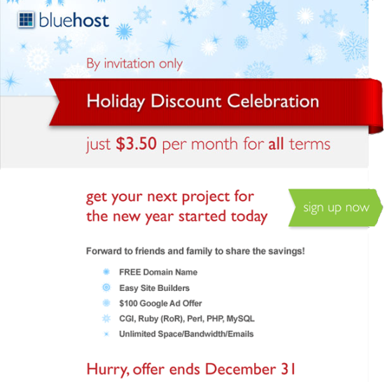 Bluehost cheap webhosting special