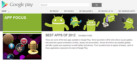 Google Play Best of 2012