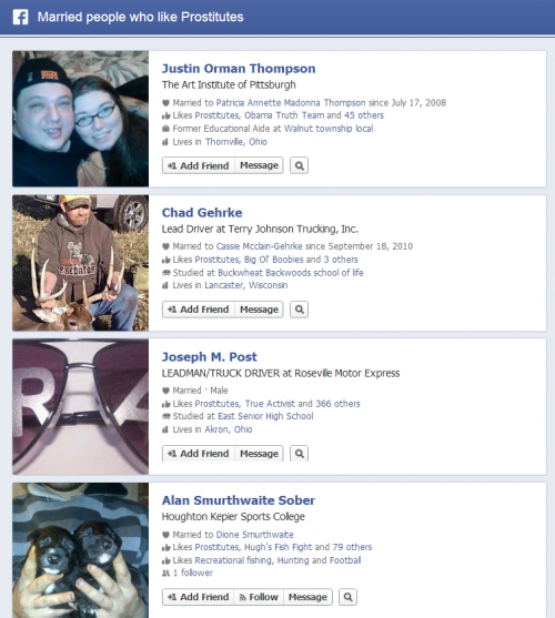 Facebook Graph Search Married People who like prositutes