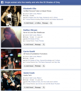 Facebook Graph Search Single Women who like 50 shades of grey