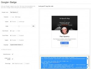 New Google+ Profile Badge configure