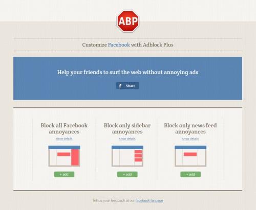 Customize Facebook with Ad Block Plus