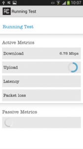 FCC Speed test app test running