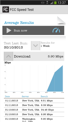FCC Speed test app