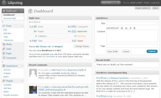 WordPress 2.7 RC1