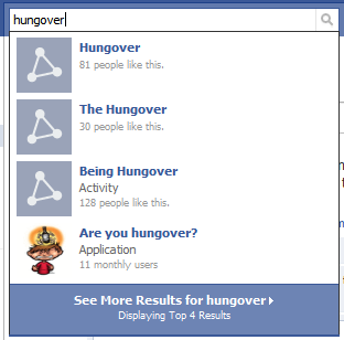 Hungover Search On Facebook