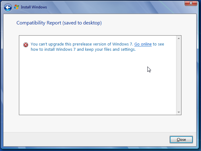 Windows 7 can't upgrade error