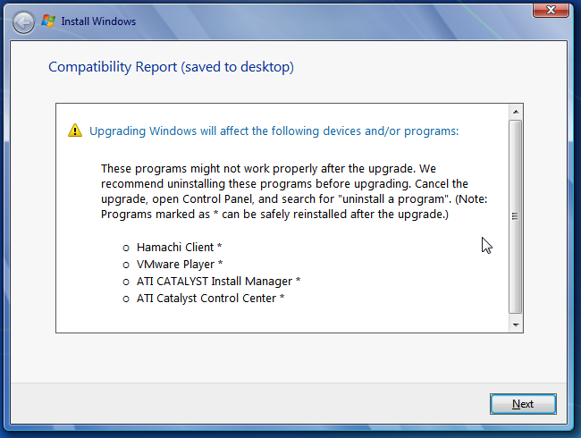Windows 7 upgrade compatibility report