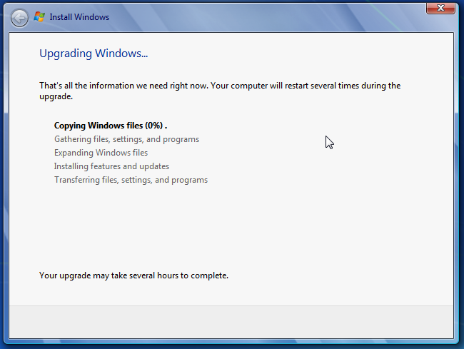 Windows 7 is upgrading just fine
